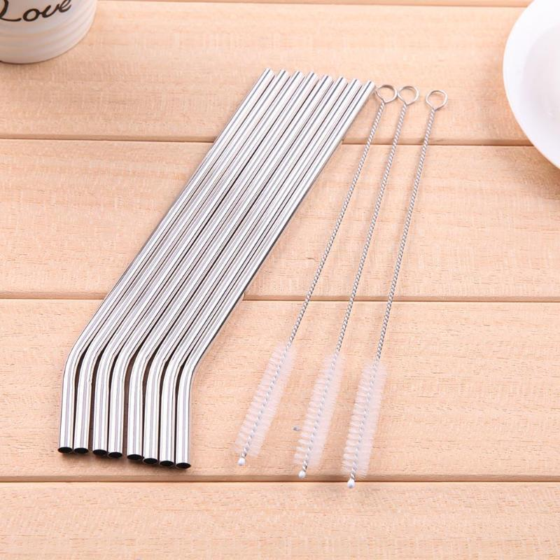 Stainless Steel Metal Reusable Drinking Straw For Mugs Straws with 3 Cleaner Brush Kit C18112301