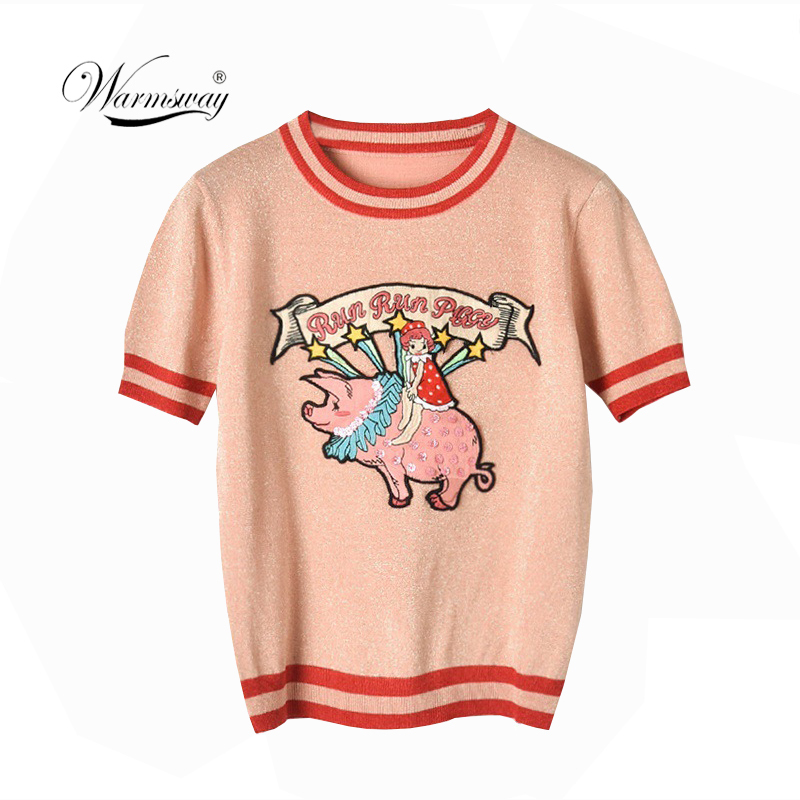 Funny Pig Appliques Viscose Knited T-shirt for Female Tees 2019 Summer Preppy Style O-Neck Short Sleeve Slim Tops B-075