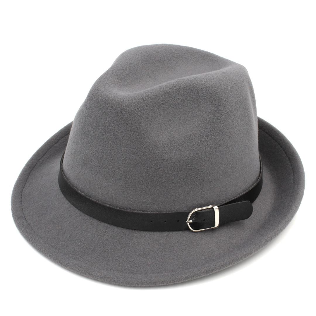 Fashion Men Women Wool Blend Fedora Cap Trilby Hat Outdoot Short Brim Atumn Winter Jazz Hat Leather Band