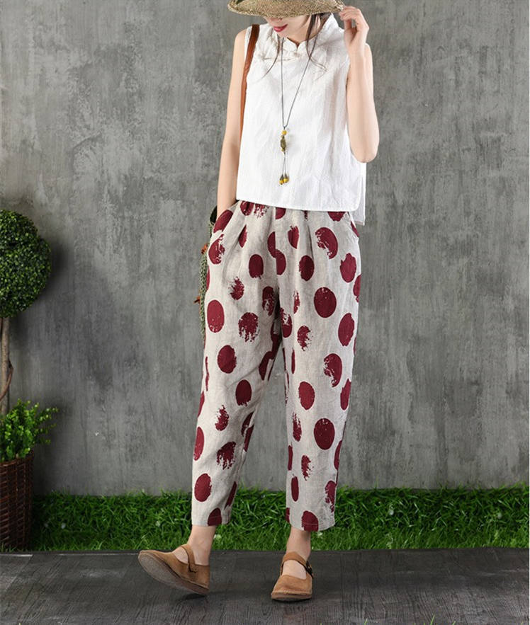 Plus Size 4XL Cotton Linen Harem Pants Trousers Women Vintage Print Slim Casual Elastic High Waist Cargo Radish Pants Women 20196