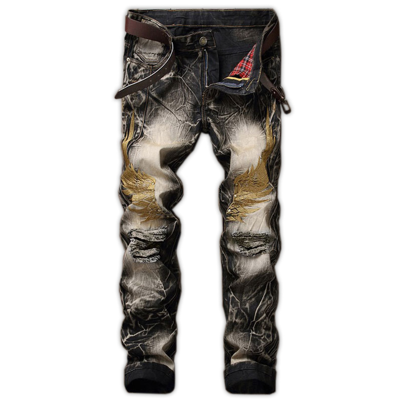 Men's Jeans 2 hole jeans men's retro men's pants straight slim wings embroidered skinny jeans with high quality