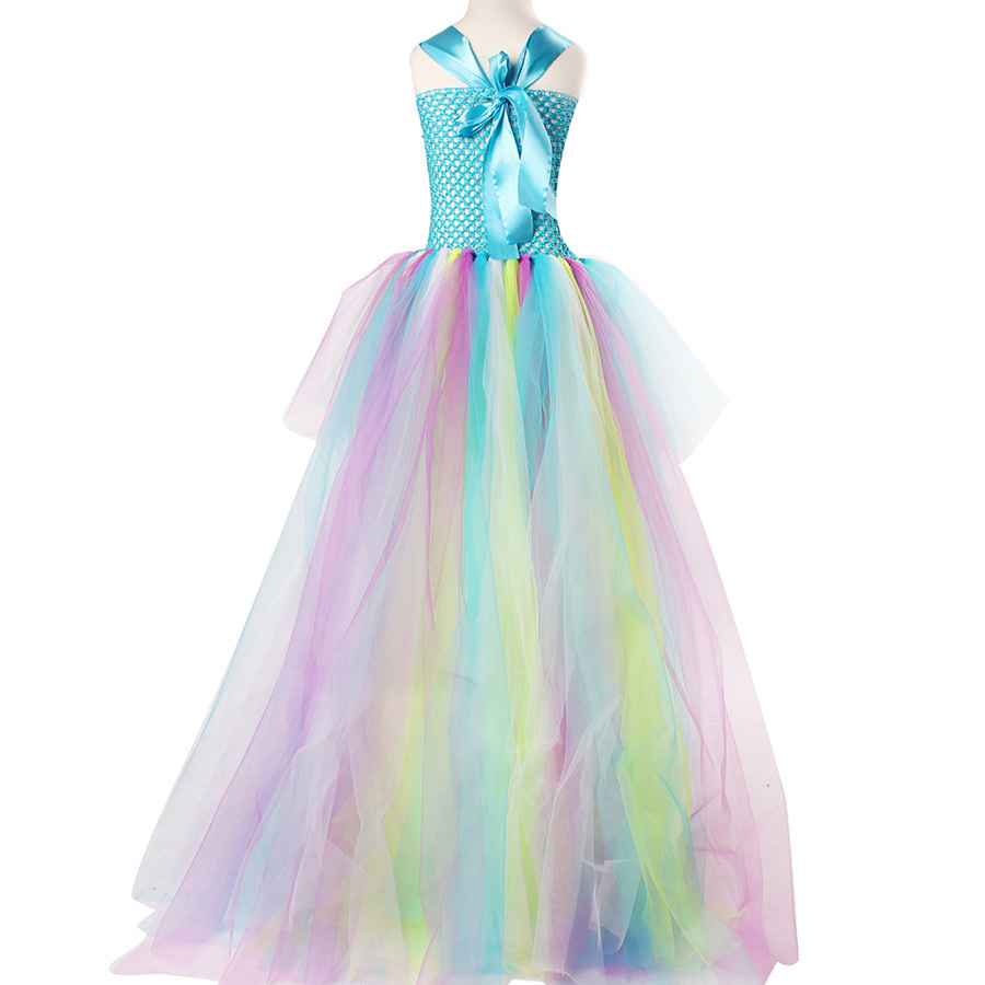 Exquisite Peacock Water Fairy Tutu Dress Girls Birthday Festival Party Pageant Costume Kids Teal Turquoise Purple Ball Gown Dress (6)