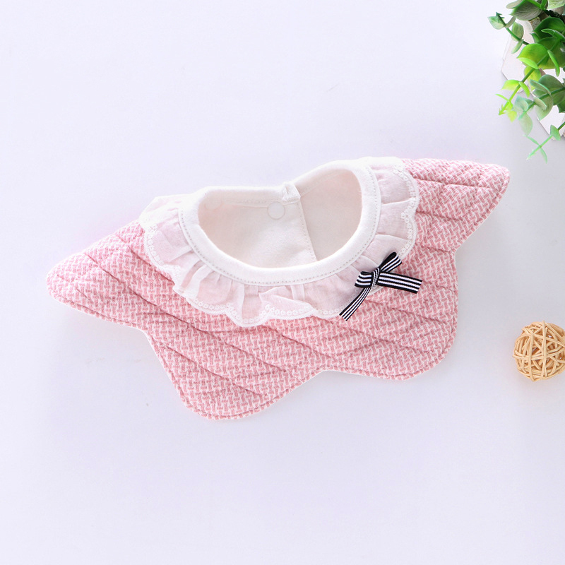 100% Cotton Waterproof Baby Bibs Fashion Round Neck Baby Girls Bibs 360 Degree Flower Star Bib For Girls Baby Girls Clothing (14)