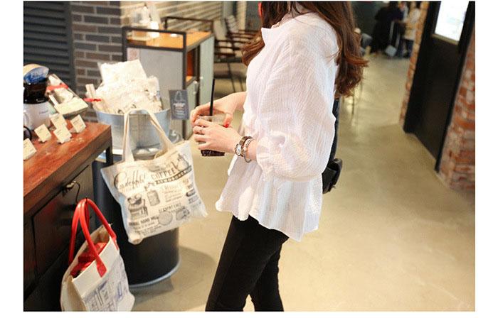 Summer Autumn Women Plus Size Blouse Three Quarter Sleeve Drawstring Waist Vintage Linen Blouse White Black Tops Shirt Chemise