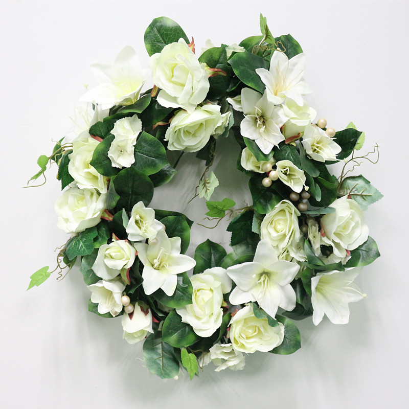 DIY Artificial Rose Lily Plants Green Leaves Simulation Cane Adornment Flowers Garland Home Wall Party Decor Vines Lintel Flower (14)