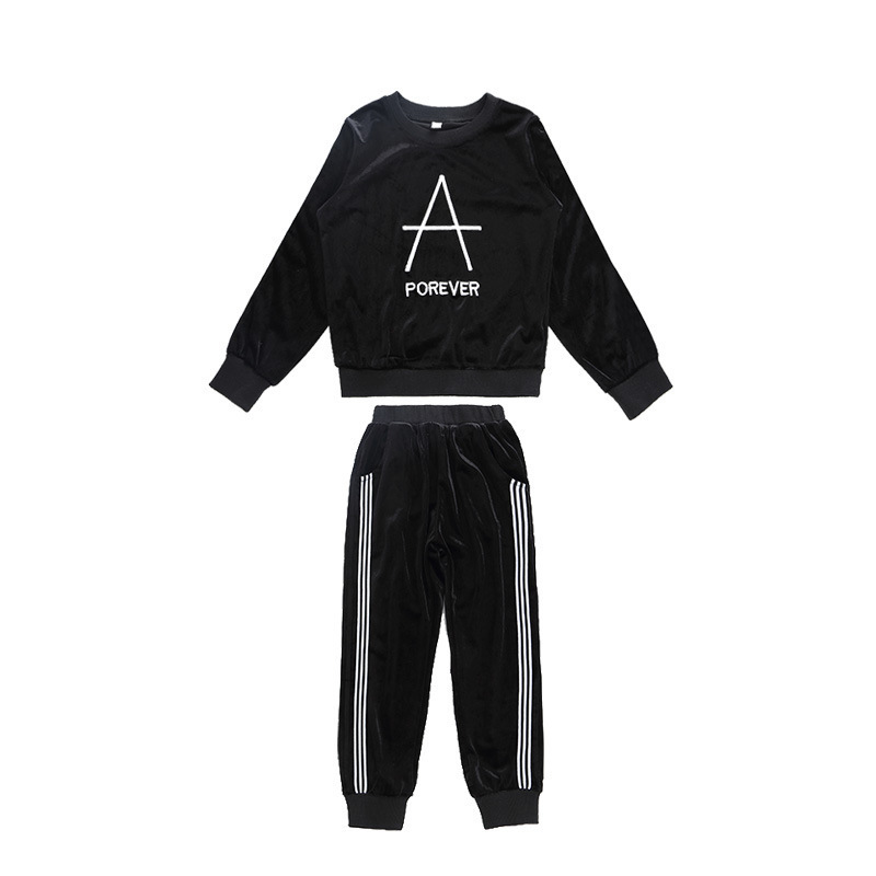 Children's Clothing Girls Suit 2019 Autumn Explosions Western Style Sweet Gold Velvet Sports Two-piece Trend Slim Set