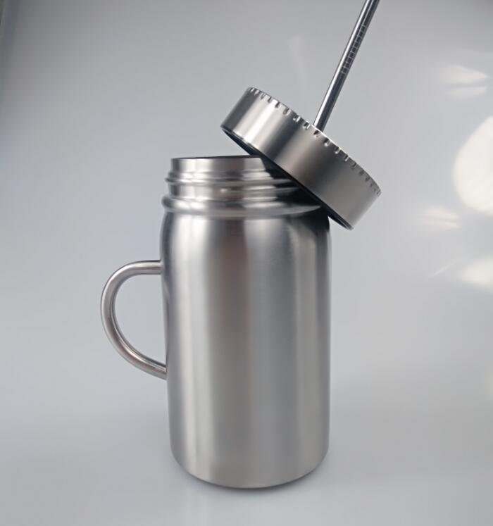 500ml Insulated Stainless Cup with Lid and Straw Smoothie Tumbler Juice 2pcs