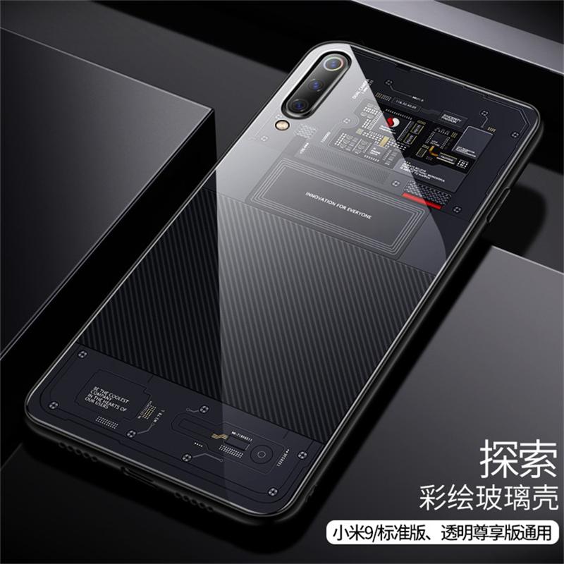 Aixuan Glass Case For Xiaomi mi 9 Mi9 Explorer Xiaomi mi 9 SE Case painted Tempered Glass Silicon Protective full Cover Cases (12)