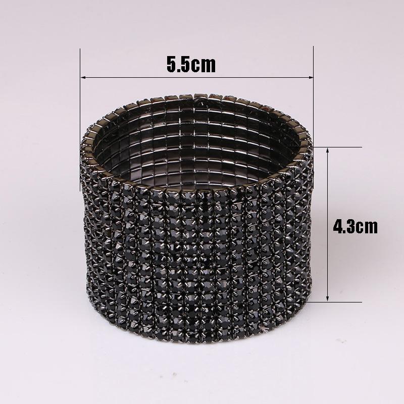 TDQUEEN 12 Rows Black Crystal Rhinestone Bangle Bracelet Black Gun Plated Metal Wide Indian Bangles for Women (4)