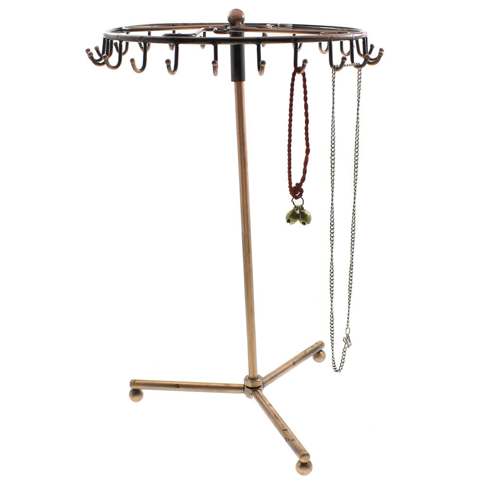 Gold Color Iron Jewelry Display Rotating Holder Organizer Tools Stand Rack Hooks Necklace Earrings Bracelets Rack Holder Display