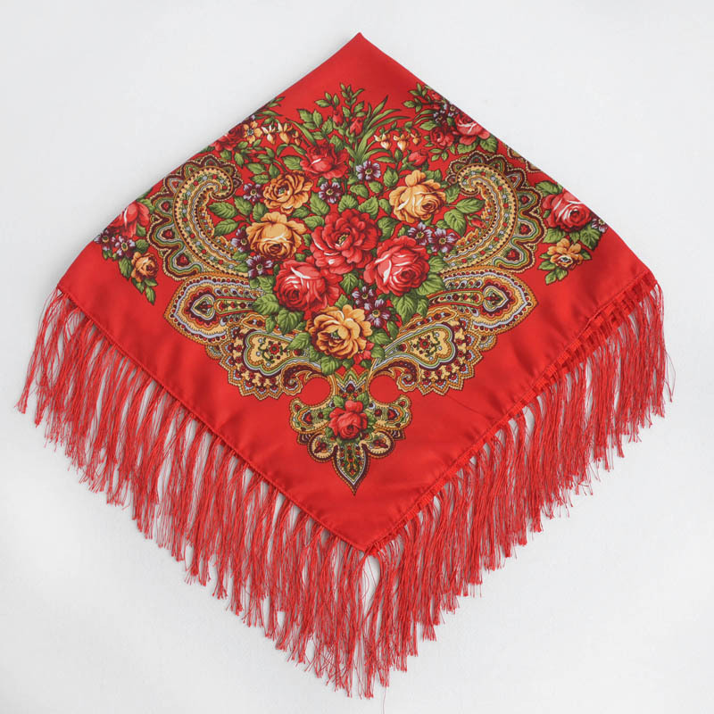 vintage style Russian folk Tassel Square Scarf for women ladies 90*90cm Retro flower scarf shawls Headband kerchief 15 colors