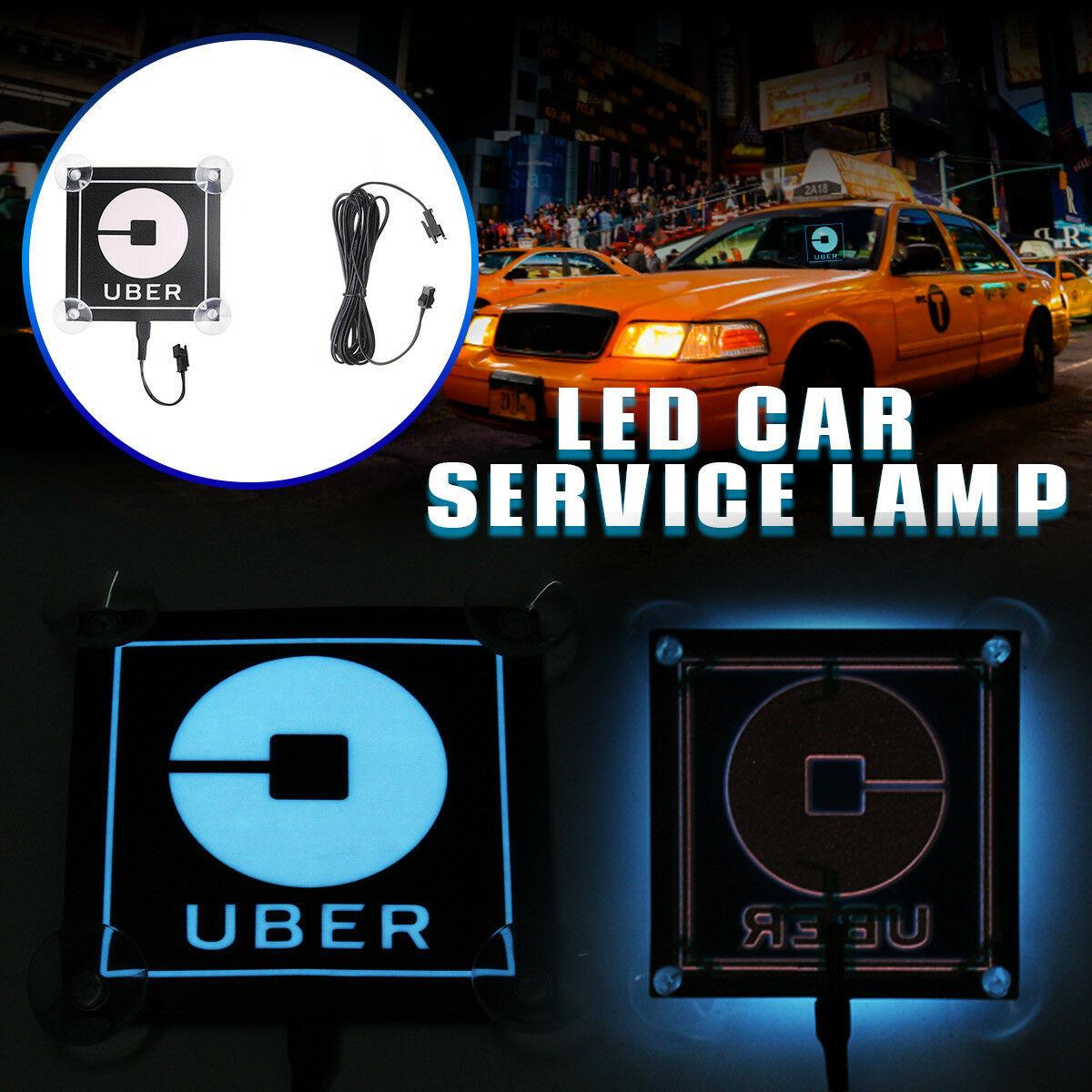 For Car Uber Logo Blue  LED Flashing Bright Glow Sticker Light Sign Intelligent