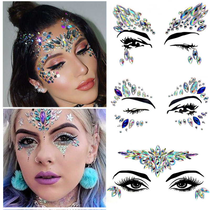 3D Crystal Forehead Headpiece Hair Glitter Face Body Gems Jewels Shiny Stic M ei