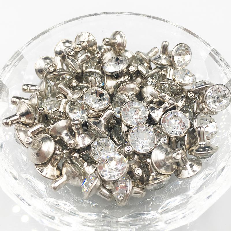 8mm CZ Cristales Rhinestone Remaches Rapid Silver Nailhead Spots Studs DIY Aleación de Zinc Metal