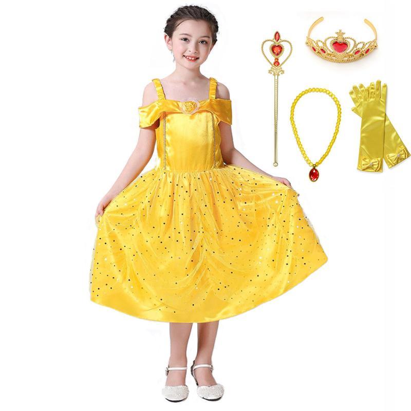 Plus adapté Promotion Robe Jaune Princesse Belle | Vente Robe Jaune Princesse RV-43