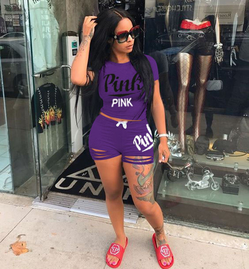 Pink Letter Shorts Suit Set Short Sleeve T-shirt Shorts Pants Pink Outfits Tracksuit Sportswear Suit DHL