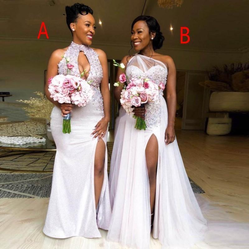 Sirena vestidos de dama de apliques de encaje sexy africanos Cuentas tul de novia ojo de la cerradura lateral abierto de las lentejuelas encaje de visitantes dama de honor Vestidos