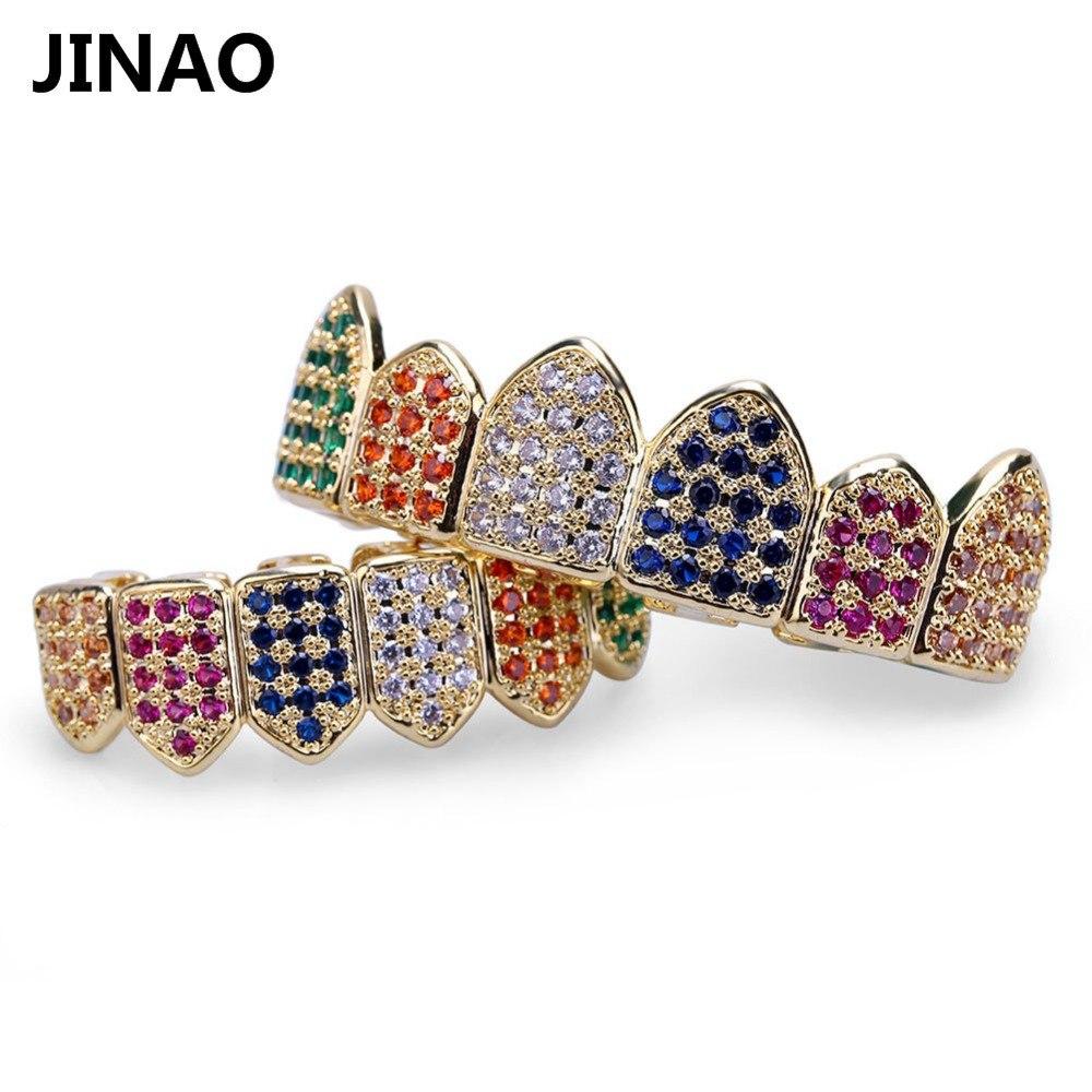 JINAO Hip Hop Dentes Grillz Banhado A Ouro Micro Pave Rainbow CZ Pedras Topo Boca Inferior Dentes Grelhadores conjuntos