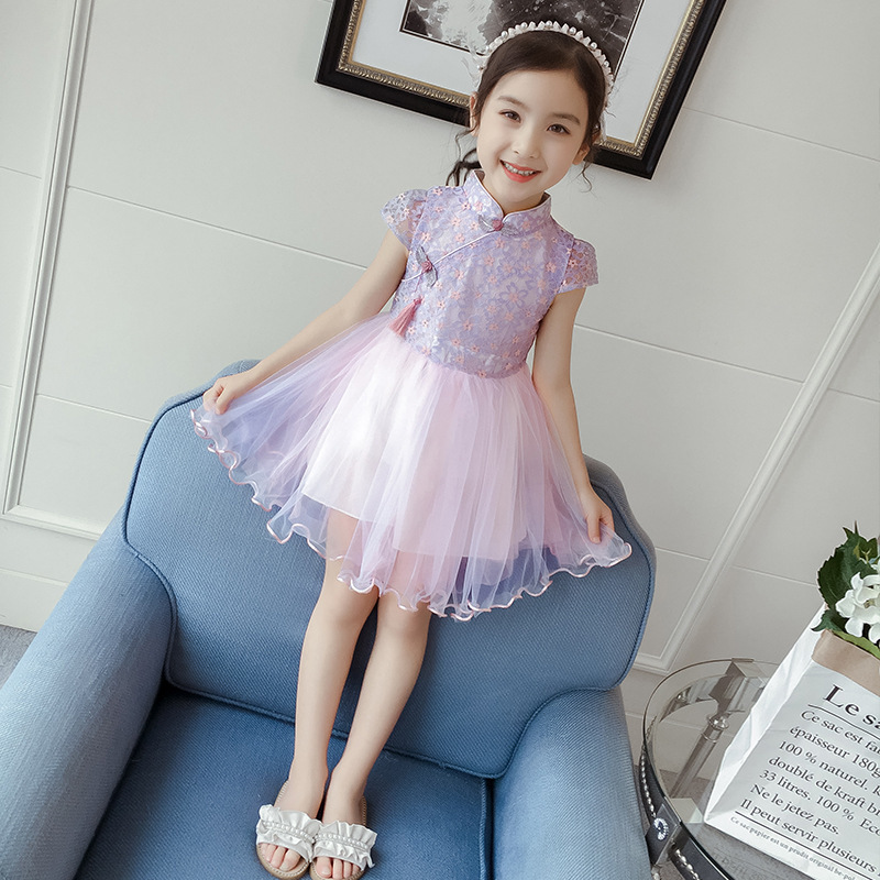 Chinese style girls dress floral embroidery summer lace short sleeve princess dresses bow mesh 2019 kid girl clothes pink kids