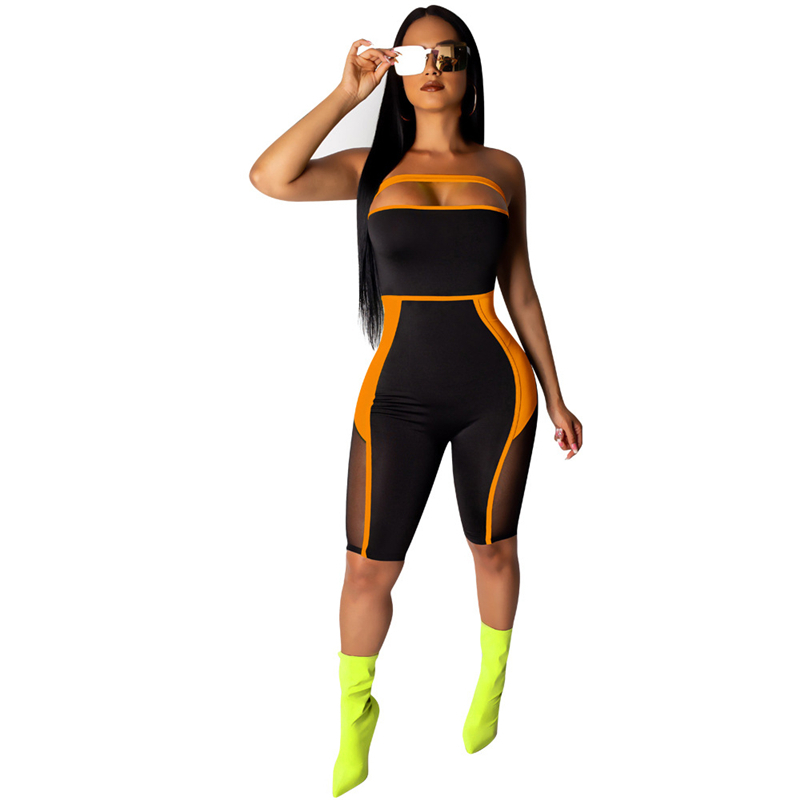 Adogirl Sheer Mesh Color Patchwork Strapless Jumpsuit Fashion Sexy Knee Length Romper Women Slim Playsuits Summer Body Suits Y19071801