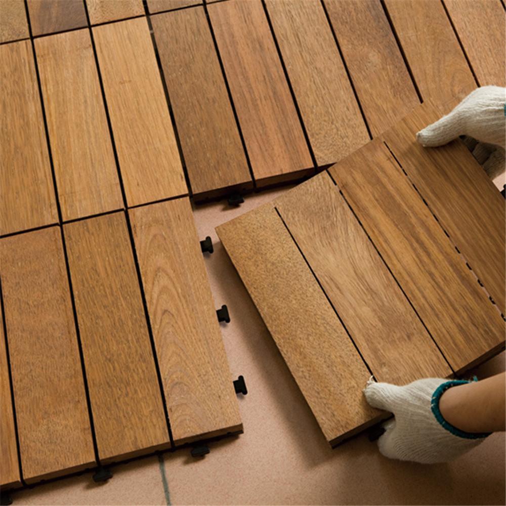 Pavimento A Incastro Per Esterni 1pc incastro pavimentazione piastrelle in solido legno di teck adatto per  interni ed applicazioni esterne motivo a strisce di 30 * 30 * 2,7 centimetri