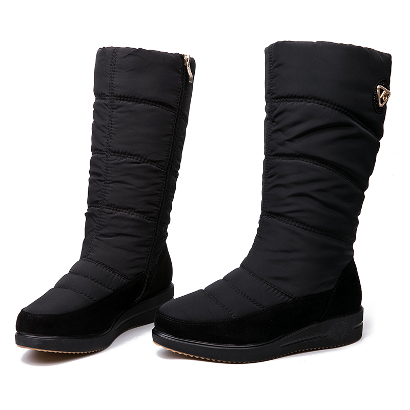 AIMEIGAO New Arrival Warm Fur Snow Boots Women Plush Insole Waterproof Boots Platform Heels Mid-calf Black Boots High Quality