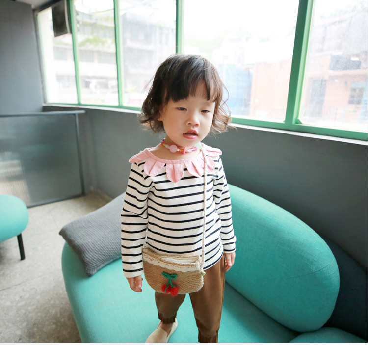 2018 Autumn New Girls Flower Collar Stripes Long-sleeved T-shirt Girls Baby Cotton Tops Kids Tees Toddler Girl Winter Clothes