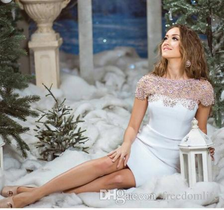 Modest Crystal Knee Length Evening Dresses Cap Sleeve Beaded Short Prom Gowns 2017 CUSTOM Cocktail Dress Hot Weddings Gust Gown
