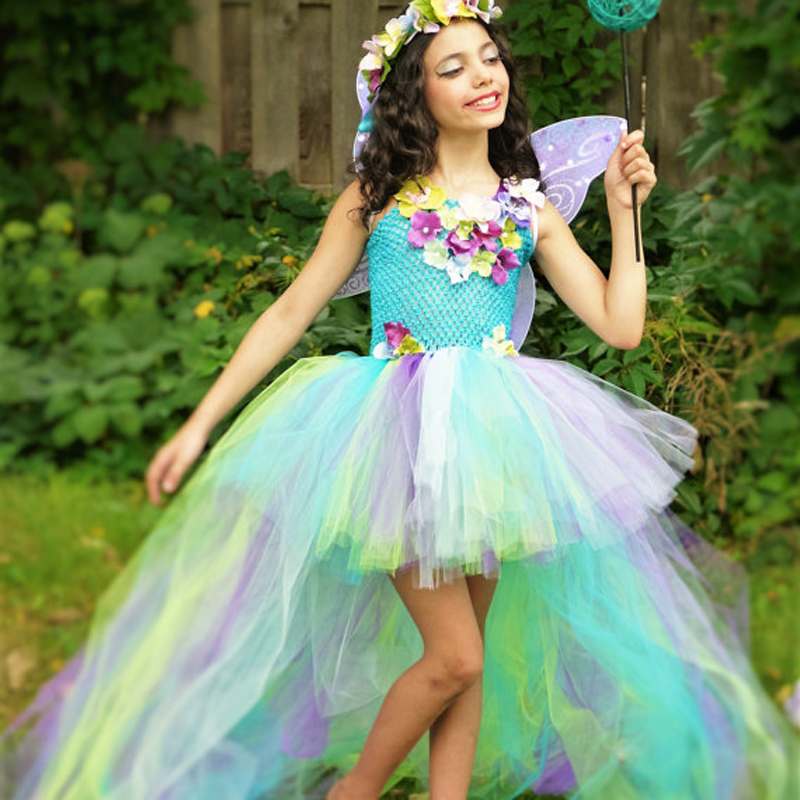 Exquisite Peacock Water Fairy Tutu Dress Girls Birthday Festival Party Pageant Costume Kids Teal Turquoise Purple Ball Gown Dress (11)