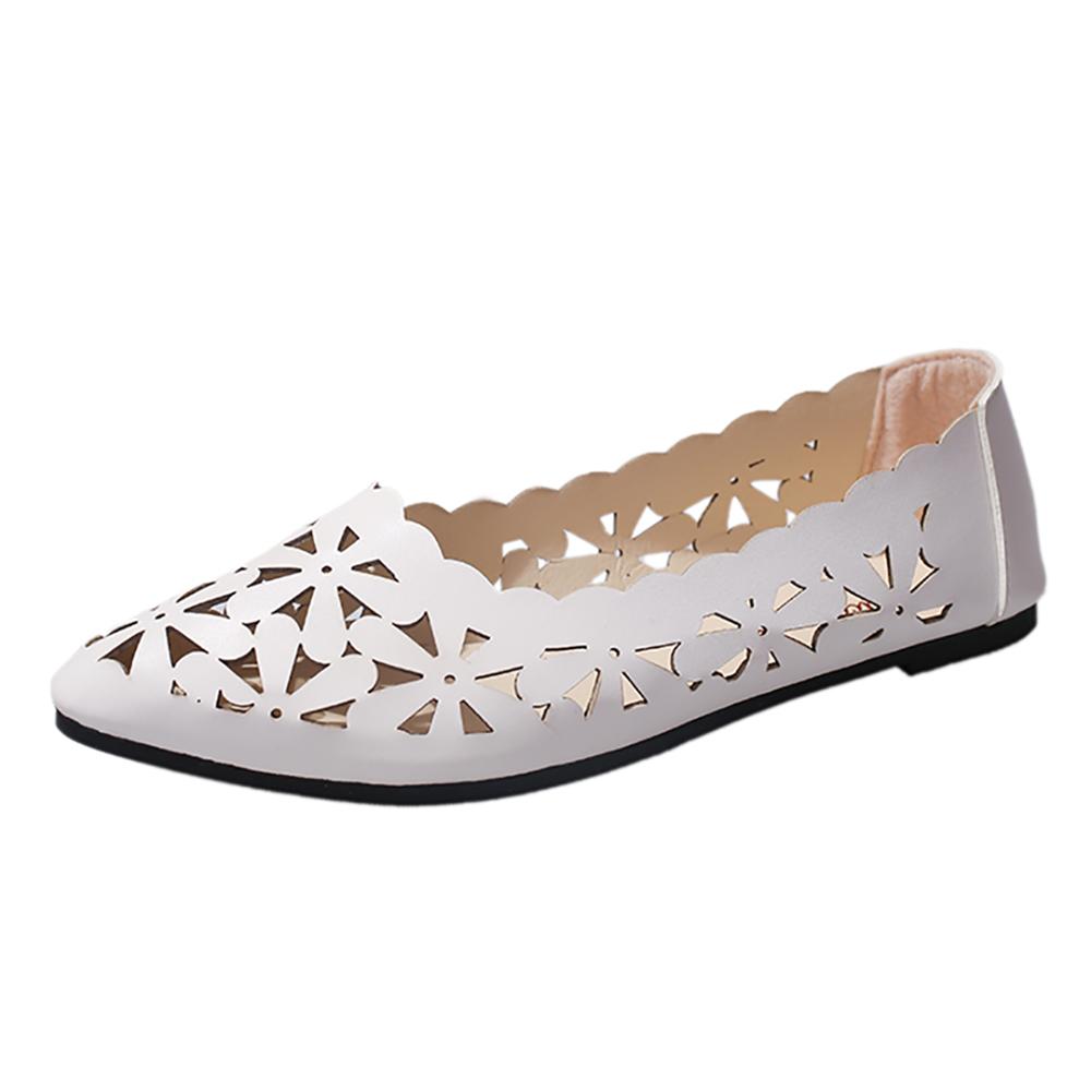Neue Ankunft Frauen Wohnungen Schuhe Flache Flache Ferse Aushöhlen Blume Form Nude Schuhe Spitzschuh Schuhe