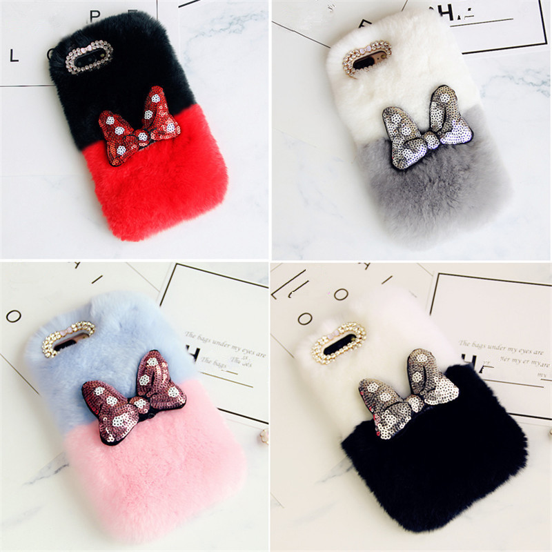 Mickey-Bowknot-Rabbit-Fur-Cases-For-iPhone-X-Warm-Handmade-Rabbit-hair-Cover-For-iPhone-iPhone (4)_