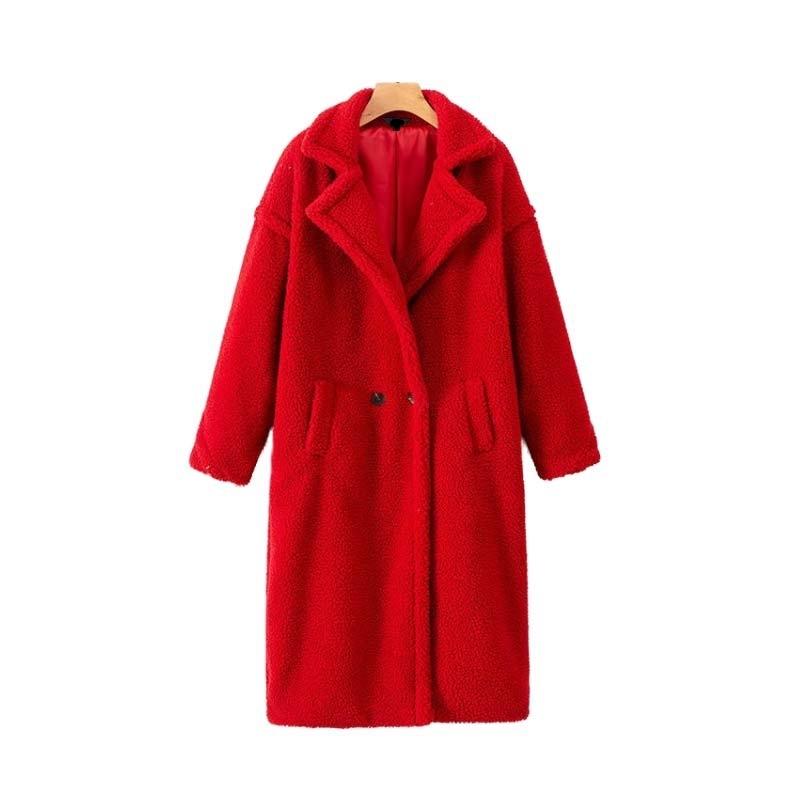 2019 Mulheres Jaqueta Rosa Faux Fur Grosso Quente Casaco Longo Inverno Bolsos Dupla Breasted Manga Longa Outerwear Casual Streetwear Y190827
