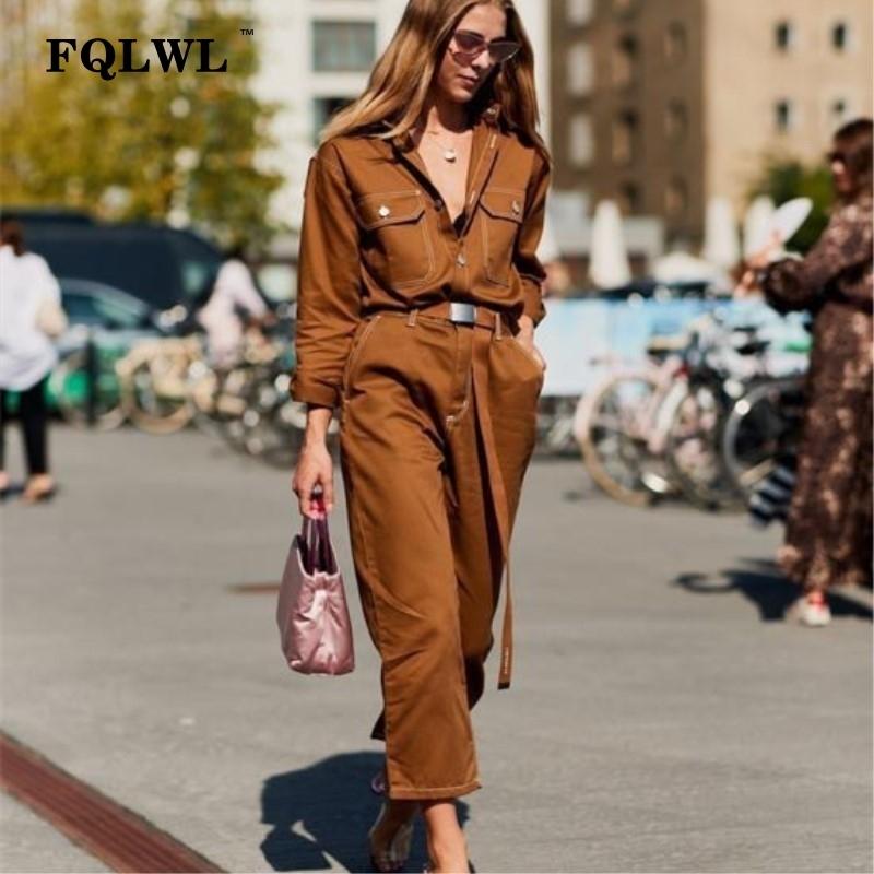 Fqlwl Streetwear Winter Autumn Rompers Womens Jumpsuit Female Long Sleeve Black White Denim Jeans Jumpsuit Overalls For Women MX190726