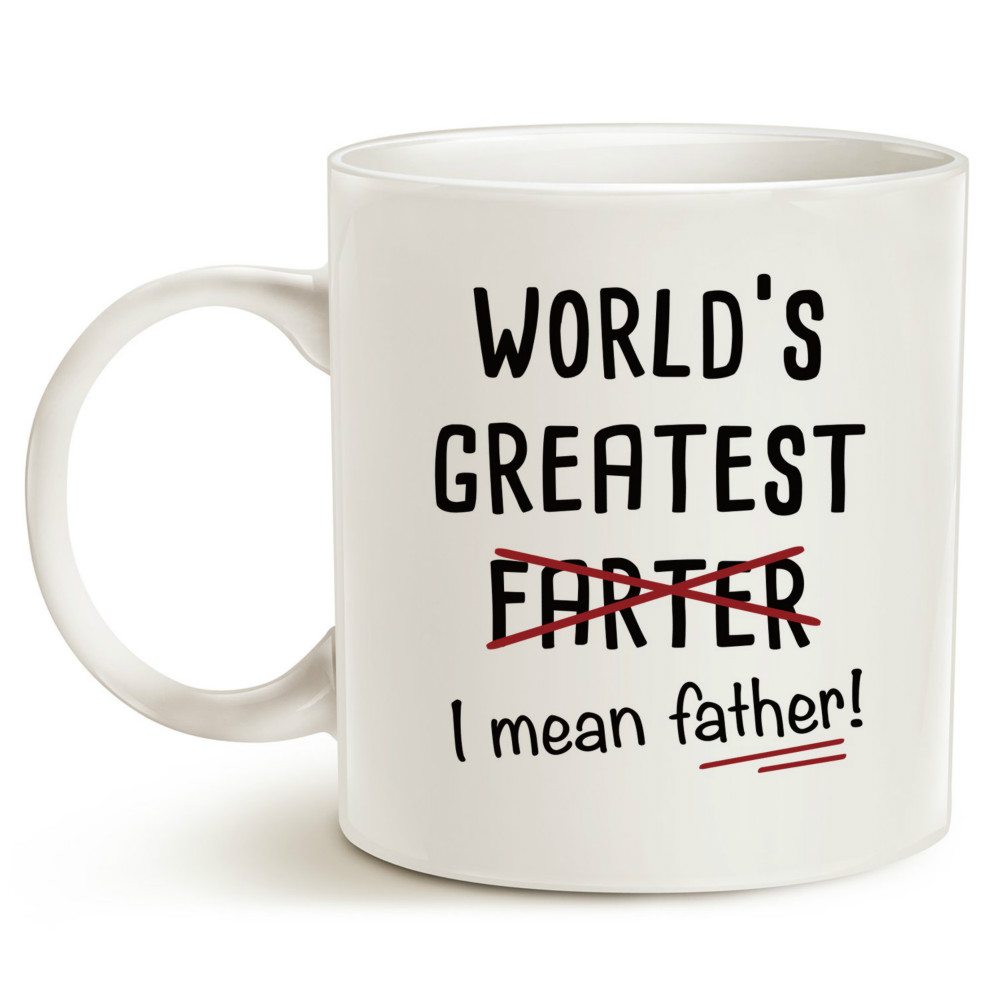 Funny Christmas Gifts Best Dad Coffee Mug Worlds Greatest Farter I Mean Father Cute Birthday