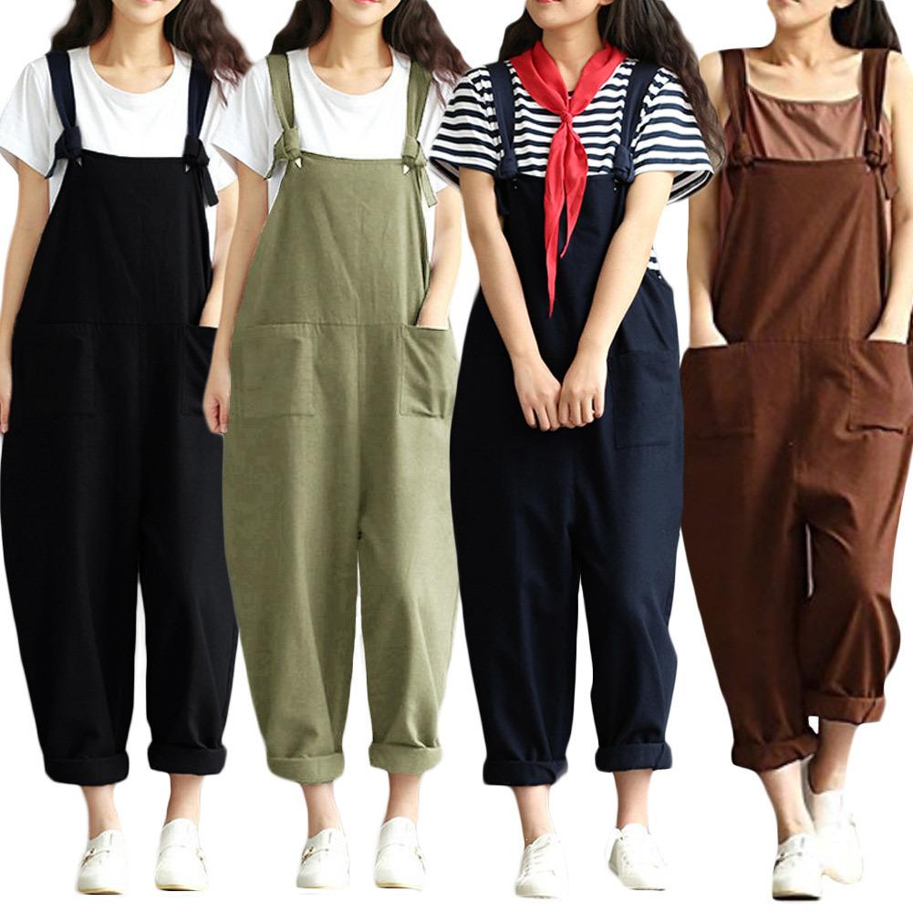 Overalls For Women Dungarees Oversize Rompers Women Jumpsuit Strap Solid Tracksuit Harem Trousers Playsuit Plus Size 3xl 4xl 5xl Y19071701