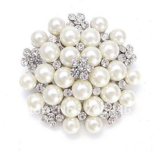 Silver Tone CREAM/Ivory Faux Pearl and Rhinestone Crystal Large Bridal Brooch