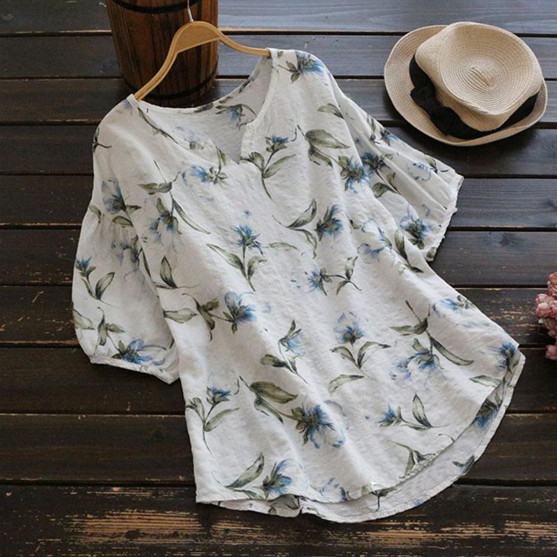 Плюс Размер 2019 Zanzea Женщины Элегантный О-Образным Вырезом Latern Рукавом Лето Цветочный Принт Блузка Повседневная Свободная Работа Ol Хлопок Льняная Рубашка Топ Y19062501