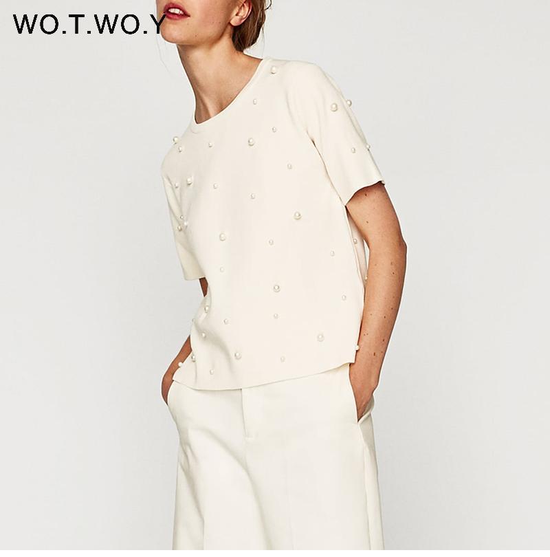 Summer Pearls Beaded Women T-Shirt Cotton Loose Casual Women Tops Black Short Sleeve Ladies O-Neck Tee Shirt High Quality