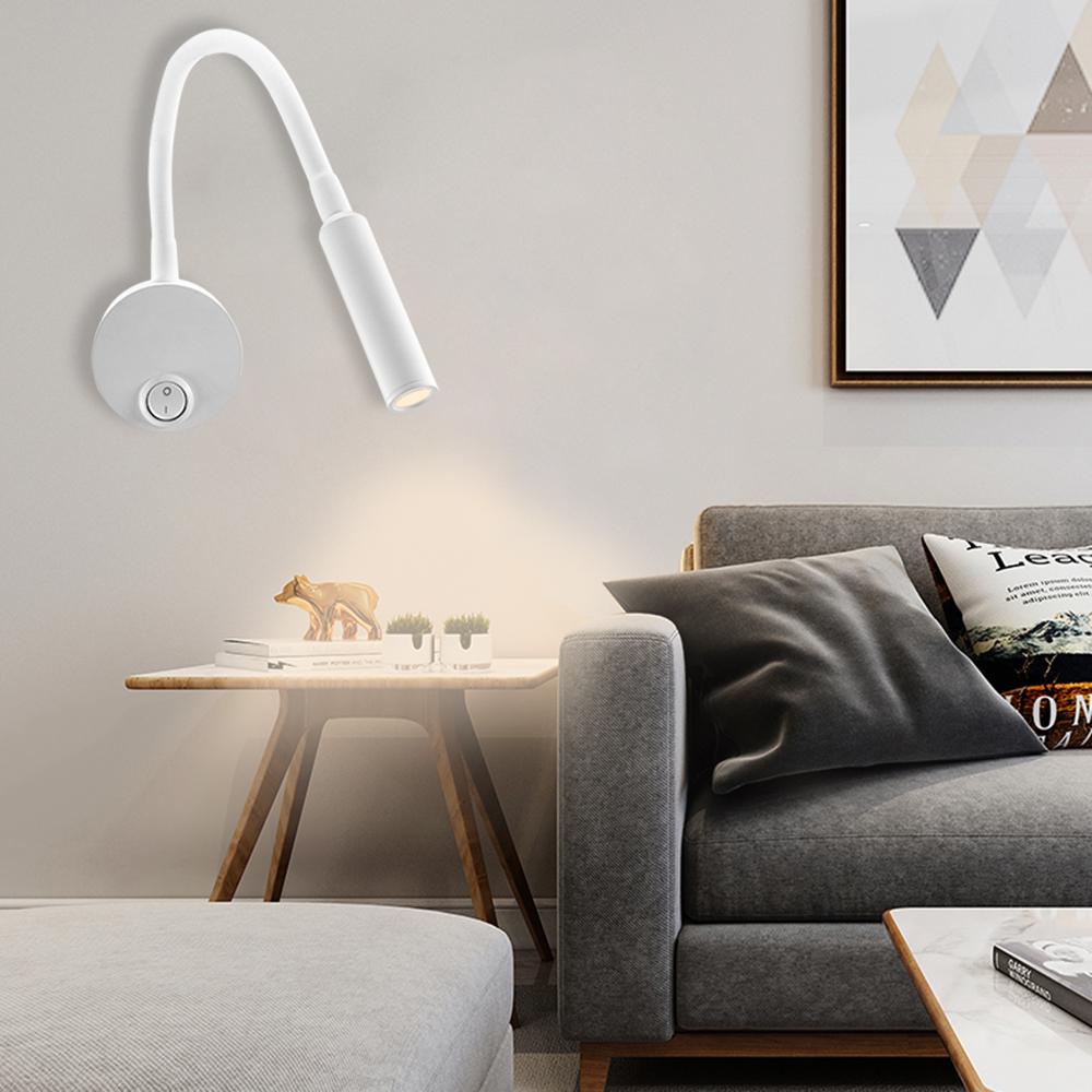 Monter Une Lampe De Chevet blanc tuyau mur projecteur, éclairage blanc chaud cob lampe de chevet bend,  minimaliste mur surfaced monté 3w lecture night light i285
