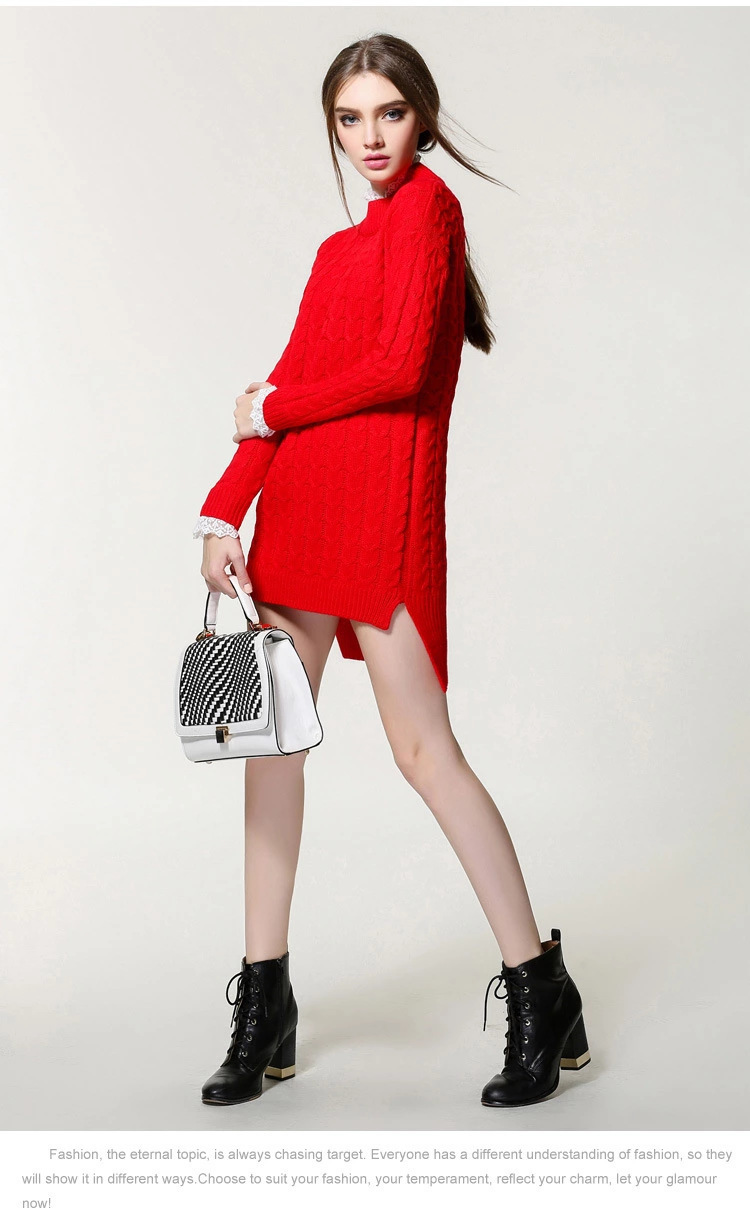 Pop2019 Pattern Suit-dress Length Of Front And Rear Rendering Unlined Upper Garment Solid Color Long Fund Knitting Sweater Skirt