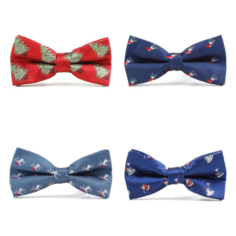 FREE GIFT BAG Men/'s Wear Christmas Tree Novelty Red Festive Bow Tie Party Xmas