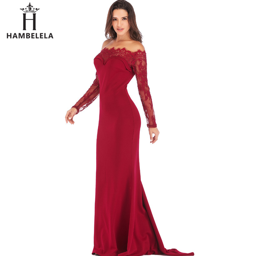 HAMBELELA Robe De Soiree Longue Long Sleeve Mermaid Evening Dresses Formal Evening Gowns China Vestido Longo Bodycon Lace Dress (3)