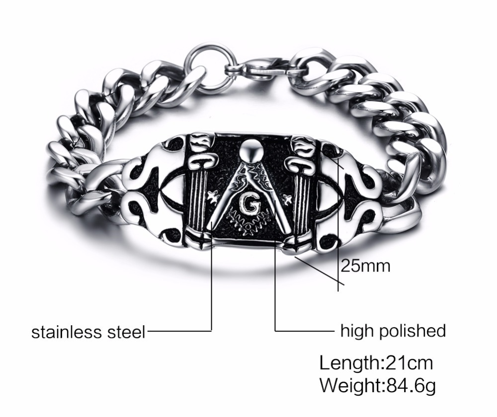 Mens Freemasons Bracelets 316L Stainless Steel Vintage Silver Black Curb Linkage Biker Punk Masonic Symbol For Men 21CM pulseira masculina 111