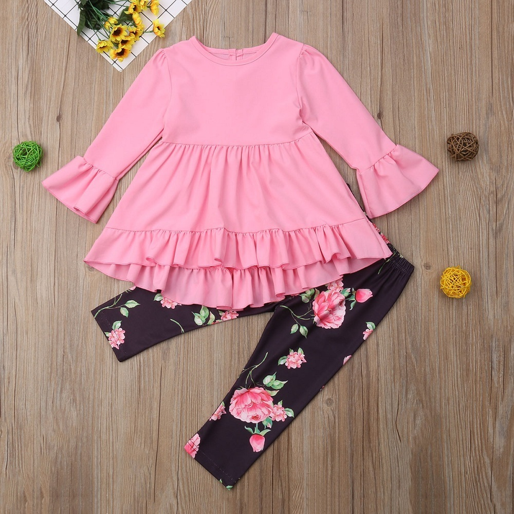 88660400eb4e0e 2019 Toddler Kid Baby Girl Ruffle Clothes Tops Flare Long Sleeve ...