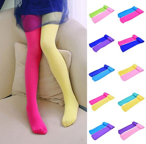 Kids Girls Candy Color Tights Stretch Pantyhose Stockings Footed Tights