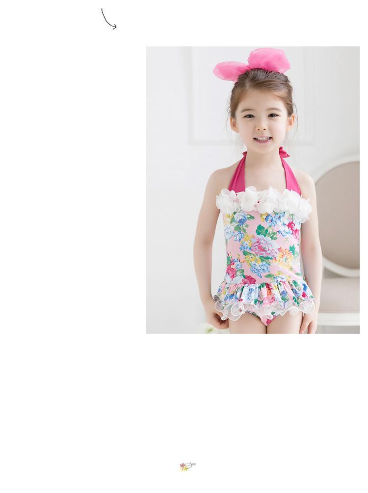 2pcs Baby Girls Swimwear Kids Swimming Bikinis Siamese skirt type swimsuit one piece lace sweet Bathing Suit Swimsuit with Cap (13)