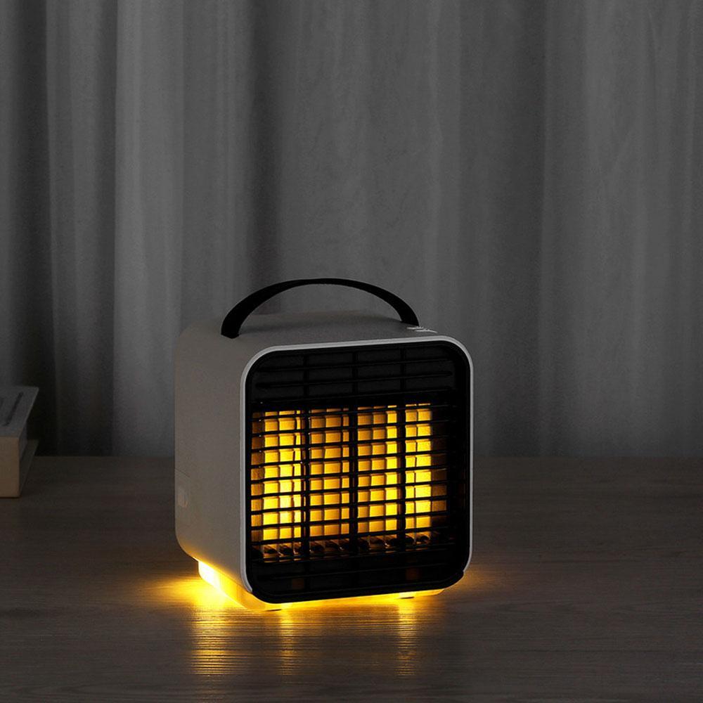 BRELONG mini fan, taşınabilir hava soğutucu USB şarj negatif iyon mini soğutma fanı küçük su soğutmalı klima fanı gece lambası, beyaz