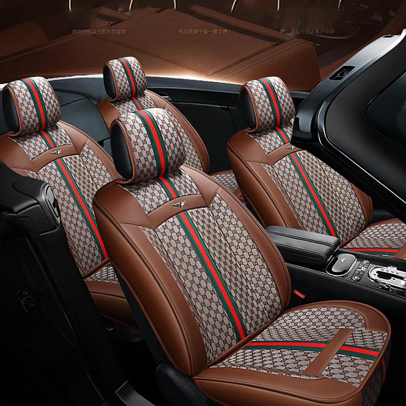 Grigio 3D Universal Bamboo Charcoal Cuscino Imbottitura del sedile PU cuoio Car Seat Covers
