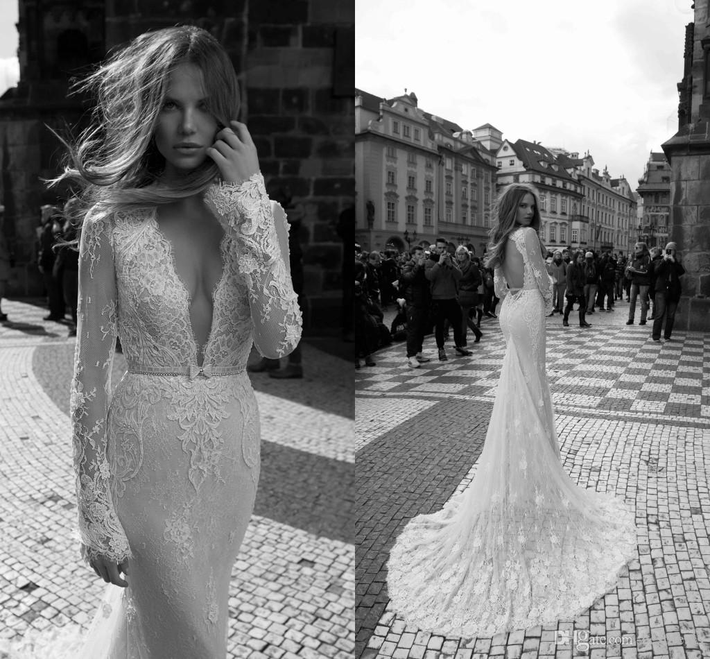 2016 Gorgeous Berta Illusion Long Sleeves Lace Mermaid Wedding Dresses Spring Plunging V Neck Open Back Sweep Train Bridal Gowns With Sash