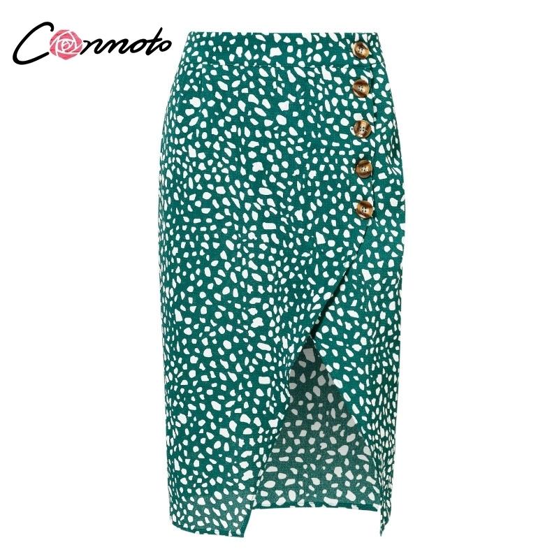 Conmoto Taille Split Midi Jupes Femmes Bouton Vert Léopard Dot Imprimer Casual Chic D'été Sexy Haute Couture Boho Jupe C19040901